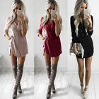 US Women V Neck Long Sleeve Blouse Button Down Top Shirt Casual Loose Mini Dress