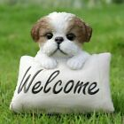 NEW Shih Tzu with Welcome Sign Figurine Adorable Life Like Home Garden Cute