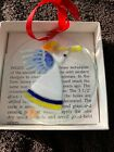 Signed Peggy Karr Glass Ornament Angel with Horn