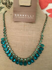 New Sorrelli Sea Glass Blue Silver Crystal Necklace