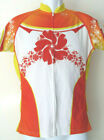 Vintage FLORAL FULL ZIP PRIMAL Extra Small xs CYCLING JERSEY Red Yellow Orange