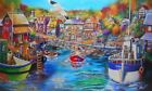 MY UTOPIA Quaint Fishing Village Airbrush Laser Canvas Print of Original USA Dee