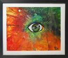 EYE Starburst Bold Original Airbrush Acrylic Painting Canvas 10X 8Framed USA