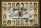 1971-72 Boston Bruins Team Autographed Placemat Orr Esposito Cheevers Schmidt