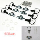 Quick Release D-RING ¼ Turn Race Fairing Fasteners Clip 17mm Matte Black 10Sets