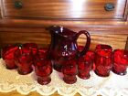 A. Hocking  Georgian Ruby Pitcher w/ 15 goblets excellent