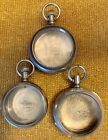 Pocket Watch Coin Silver,Silverode And Base Metal Cases, Lot Of Three!