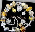 PANDORA CHARM BRACELET MOM WIFE LOVE GOLDEN HEARTS GLASS CLOVER IRISH + BOX