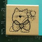 CAT WEARING A BOW with FLOWER Rubber Stamp by Hooks Lines and Inkers