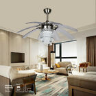 42 Silver Crystal Ceiling Fan Lamp LED Chandelier w Take off 8 Blades Remote