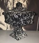 Cobweb Black Glass Square Candy Dish With Lid White Vein Decoration Halloween