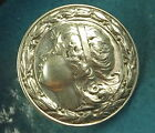 Art Nouveau Sterling Silver Button Beautiful Girl Marked TD c1900