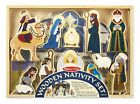 Melissa Doug Wooden Nativity Set 11 Standing Figures 4 Piece Stable Baby Jesus