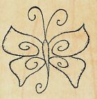 Outlines DOODLE BUTTERFLY Wood Mounted Rubber Stamp Nature Animals Insects