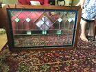 Vintage colored stained glass window panel 25X 38 ready to hang