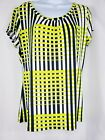 Worthington Short Sleeve Scoopneck Top Size L Green Yellow with Black stripes