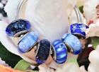 6 Used Pandora Silver 925 ale Murano Blue Love Hearts Charm Beads