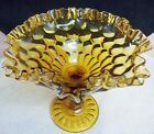 Fenton Crystal Amber Art Glass Compote Ruffled Edge Thumbprint Pedestal Bowl