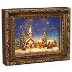 Raz Imports water glitter lighted lantern Christmas Picture church Sleigh 95