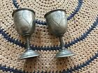 Early Wine Goblets 1840s Initials AVF Pewter Engraved Heart Baroque Style Nice