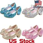Girls Bowknot Princess Performance Shoes Bling Sequins Mid Heels Dress Shoes US