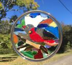 Cardinal stained glass window art suncatcher