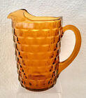 Vintage Dark Amber Indiana Glass Whitehall Colony Cubist Water Pitcher W/Ice Lip