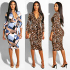 Women Bandage Bodycon Floral Long Sleeve Evening Party Cocktail Short Midi Dress