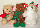 Ty Beanie Babies, 2005 Holiday, Seasons Greetings, & Chillingsly, Holiday Bears
