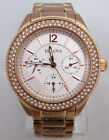 BULOVA $399 WOMEN'S ROSE GOLD SILVER DIAL MULTIFUNCTION CRYSTALS WATCH 97N101*