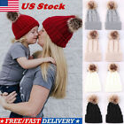 Mom&Newborn Baby Boy Girls Winter Warm Pom Bobble Knit Beanie Hat Kid Cap Winter