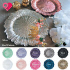 1 24pcs Reef Pattern Acrylic Plastic Charger Plate Shiny Finish Rose Gold Silver