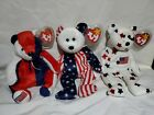 TY BEANIE BABIES  PATRIOTIC AMERICAN July 4th theme Vintage Retired Lot of 3