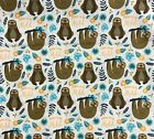 Very Punny Born to be Mild Sloths Camelot Cotton Fabric