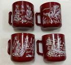 Vintage Hazel Atlas Milk Glass Mugs Cups Red with Indian Scenes Set Of 4