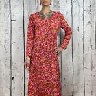 Vintage 1960s Maxi Dress Hot Pink Groovy Psychedelic Med Large Flower Power