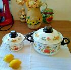Vintage Set Of Two Pots Lids 25 Qt 1 Qt Summer Garden Excell Kitchenware Gift