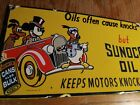 Sunoco Oil Porcelain Sign Mickey Mouse Donald Duck Goofy Vintage Walt Disney Art