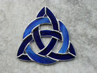 6 1 4 Irish Knot  Circle Stained Glass Suncatcher Light  Dark Blue Glass