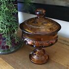 Vintage Indiana Amber Kings Crown Thumbprint Candy Dish Compote Pedestal Footed