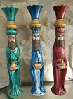 VINTAGE Wise MEN MAGI Nativity Christmas Ceramic Rare HTF Extra Tall 16 Set 3