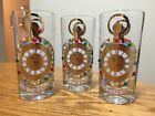 1960s CULVER THE TIME IS NOW Jeweled Rare Clear Highball Glasses Set Of 3
