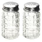 Textured Glass Salt and Pepper Shakers Vintage Retro Style Stainless Steel Lids