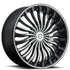 4 20 Borghini Wheels B24 Black Machined Rims B1