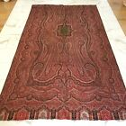 Very Large Antique Wool Paisley Textile Woven Victorian Cloth Shawl Red Coverlet