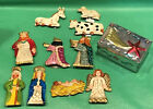 DETAILED 10 Pc Tin Christmas Nativity in a Star Box Mexican Folk Art Mexico