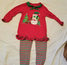 Pre Owned Little Girls Christmas 2 Piece Outfit Top and Leggings Size 4T