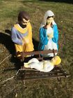 Vintage Empire Blow Mold Lighted Christmas Nativity Set Mary Joseph Jesus 27