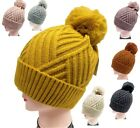 Warm Winter Hat Ski Beanie Faux Fur Pom Pom Ice Skating Thick Knit Stripe Design