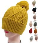 Warm Winter Hat Ski Beanie Faux Fur Pom Pom Ice Skating Thick Knit Cress Cross